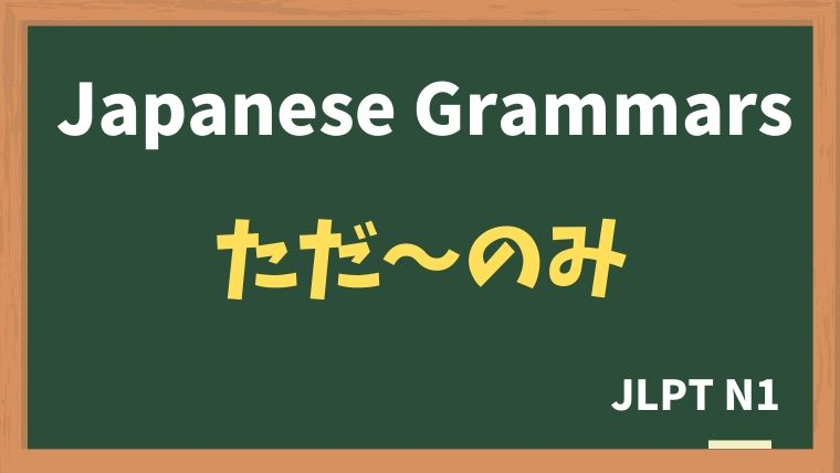 【JLPT N1 Grammar】ただ〜のみ