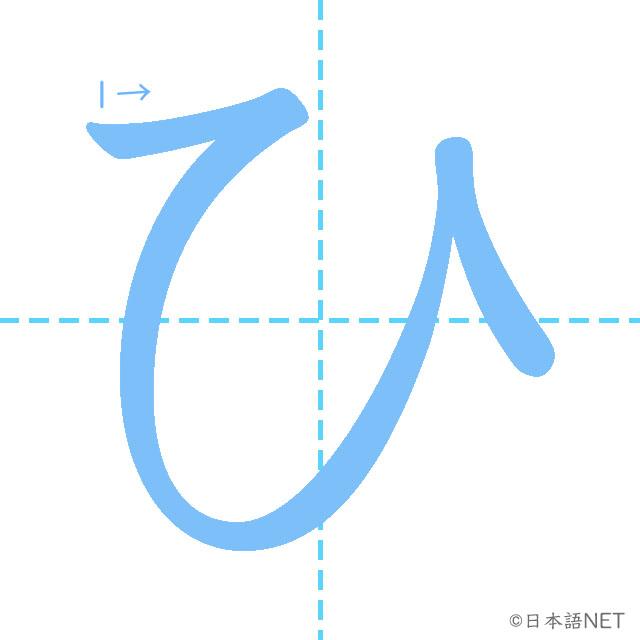 stroke order of 「ひ」