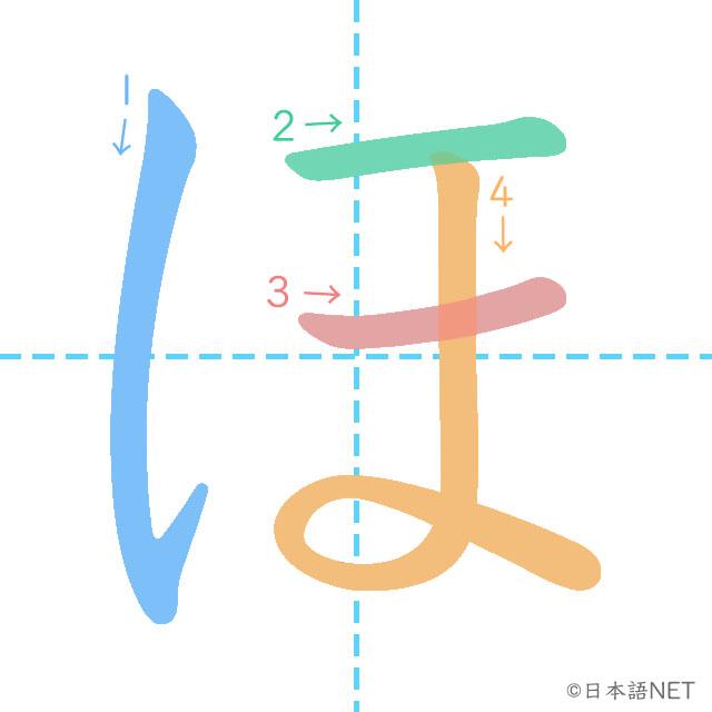 stroke order of 「ほ」