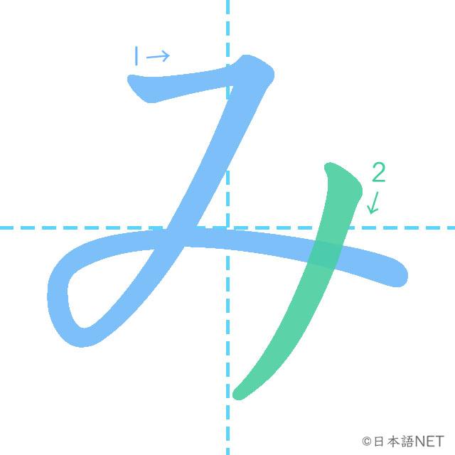 stroke order of 「み」