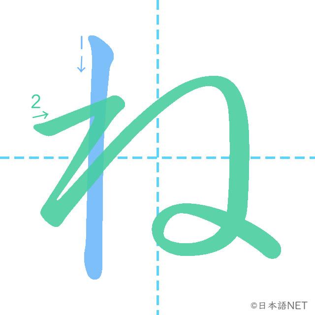stroke of order 「ね」