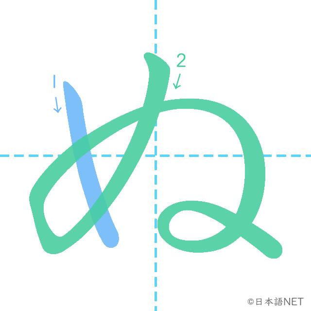 stroke of order 「ぬ」