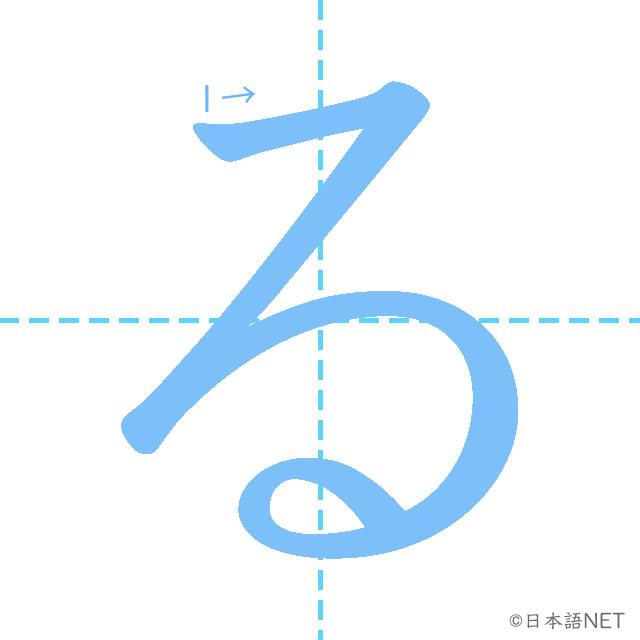 stroke order of 「る」