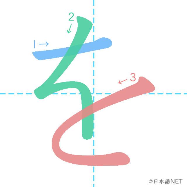 stroke order of 「を」
