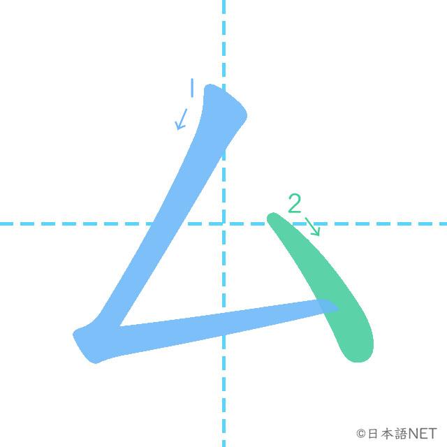 stroke order of 「ム」