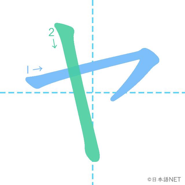stroke order of 「ヤ」